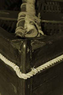 Close up of the wooden bow of a classic sailing yach - sepia by Intensivelight Panorama-Edition