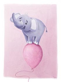 süßer Elefant auf rosa Ballon by Stefan Lohr