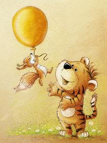 Tiger und Eichhörnchen mit Ballon by Stefan Lohr