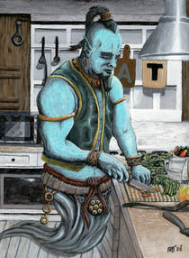 Genie Cooking Kitchen Magic Fantasy Art by Ted Helms