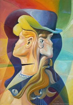 Oelmalerei-kippbild-vier-gesichter-print