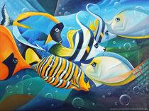 Fische - Kubismus, Ölmalerei halb-abstrakt by Martin Mißfeldt
