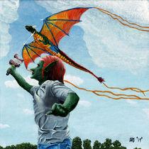 Goblin Child Flying Rainbow Dragon Kite Fantasy Art by Ted Helms