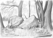 Hügelgrab (Bleistiftzeichnung) by Martin Mißfeldt