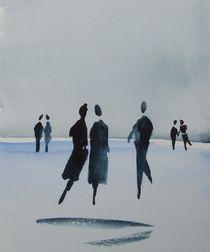 Menschen am Strand by Theodor Fischer