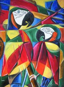 Kubismus-Kunstdruck: Papageien