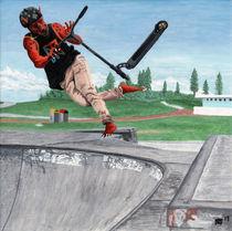 Kobold Kick Scooter Tricks Fantasy Art von Ted Helms