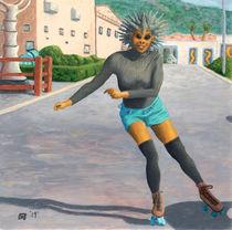 Alien Woman Roller Skating Fantasy Art von Ted Helms