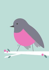 Vögelchen mit pinkfarbenen Bauch - rose robin by Carolin Vonhoff