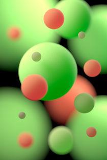 Schwebende grüne und orangefarbene Kugeln by dresdner