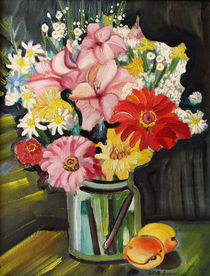 Stillleben mit einem Blumenstrauß und Aprikosen by Dejan Knezevic