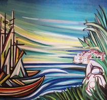 Landschaft mit Frau und Meer von Dejan Knezevic