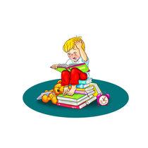 Aufgeregter und gespannter kleiner Leser von Peter Holle