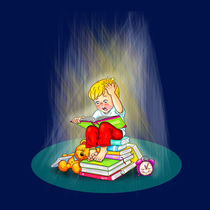 Gespannter und aufgeregter kleiner Leser by Peter Holle