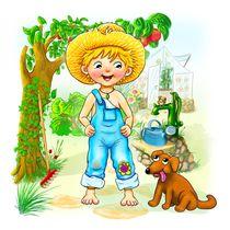 Der kleine Gärtner mit seinem Hund by Peter Holle