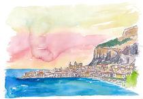 Cefalu Italien Sizilien bei Sonnenuntergang by M.  Bleichner