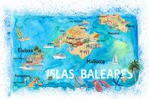 Balearen Illustrierte Reisekarte mit Mallorca Ibiza Menorca Sehenswürdigkeiten und Highlights by M.  Bleichner