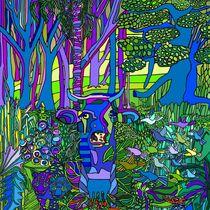 Blaue KUH frisst Urwald von SUSANNE eva maria  FISCHBACH
