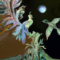 Paradiesvögel im Mondlicht, birds of paradise in the moonlight von Dagmar Laimgruber