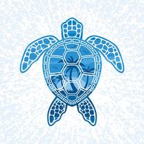 Tropical Island Sea Turtle Design in Blue von John Schwegel