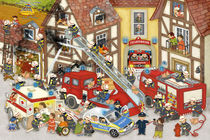 Wimmelbild_Feuerwehr in meinem Dorf von Marion Krätschmer