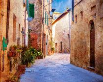 Sunlit Italian street 400 years ago by Marie Selissky