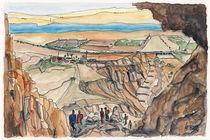 Blick aus einer Höhle in Qumran zum Toten Meer by Hartmut Buse