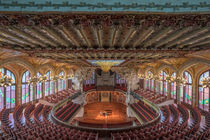 Mosaic stained-glass skylight ceiling and concert hall panorama of Palau de la Musica Catalana, Barcelona by Bastian Linder