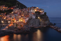 Bay with colourful houses of village Manarola in Cinque Terre during night with street lights, Italy by Bastian Linder