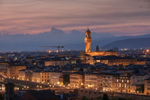 Skyline of Florence with tower Arnolfo during sunset, Tuscany Italy by Bastian Linder