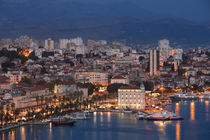 Illuminated skyline of Split during night, Croatia by Bastian Linder
