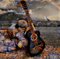 Guitar with heron by garrulus-glandarius