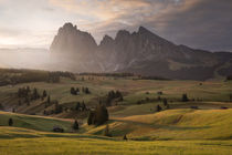 Sunrise at Seiser Alm with meadows and mountain range in the European Dolomite Alps, South Tyrol Italy by Bastian Linder