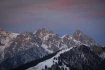 Mountains of Wilder Kaiser at Fieberbrunn during sunset in winter with snow, Tyrol Austria by Bastian Linder