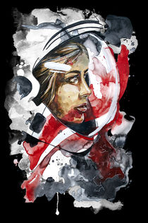 Kosmonaut Aquarell, Portrait  by #carographic, Carolyn Mielke von carographic