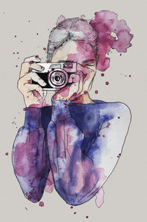 #Selfie Aquarell, Portrait  by #carographic, Carolyn Mielke von carographic
