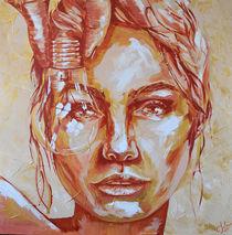 Caja #gold #nude #Acryl #Portrait  by #carographic Carolyn Mielke von carographic