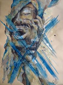#Golden saw I Aquarell, #Portrait  by #carographic, Carolyn Mielke von carographic