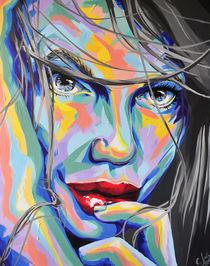 Rainbow Sisters Nele #vogue #bunt #Acryl #Portrait  by #carographic Carolyn Mielke von carographic