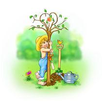 Baumliebe - Der kleine Gärtner hat sein Geburtstagsgeschenk eingepflanzt. von Peter Holle