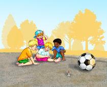 Barfuß Fußball gespielt am Park - aua, was ist da passiert? von Peter Holle