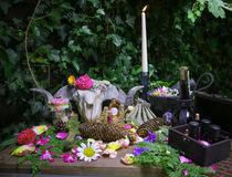 Wicca Pagan Natur Altar Skull Widder Schädel Blumen Altar by Christine Maria Grosche