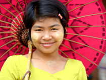 Burmese Girl with Red Parasol by Matt Hahnewald