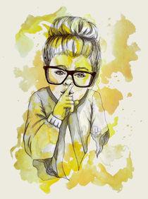 stilles Mädchen Finger illustration wasserfarben by #carographic, Carolyn Mielke  von carographic