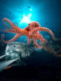 Riesen Octopus verfolgt ein U-Boot von Sven Bachström