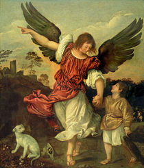 Raphael and Tobias by Tiziano Vecelli Titian