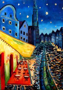 Landshut Bavaria Van Gogh Style Night Cafe - Anpassbar! by M.  Bleichner