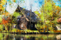 Spreewald Aquarell. Traditionelle Haus im Spreewald bei Lehde. by havelmomente