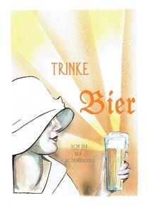 trinke Bier, Aquarellmischtechnik von Kai Rohde