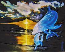 Delphine im Sonnenuntergang von Thomas S.  Handke